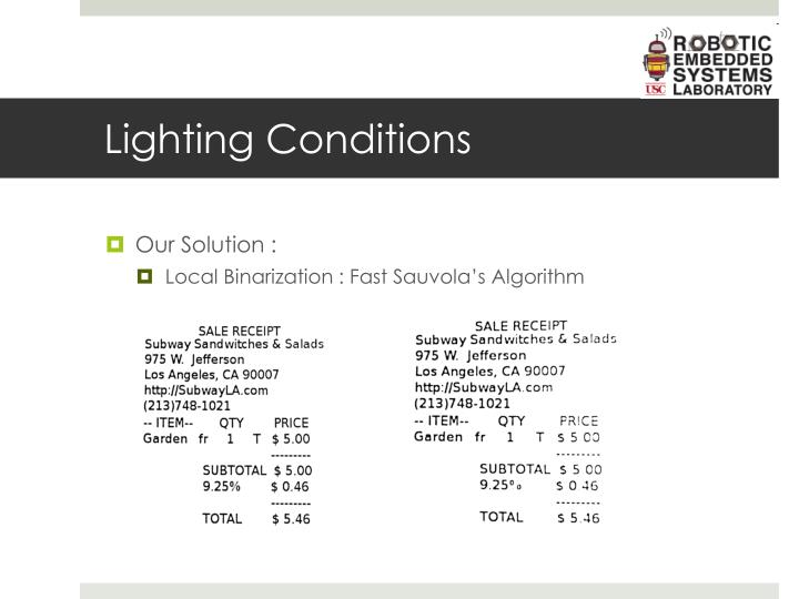Lighting Conditions