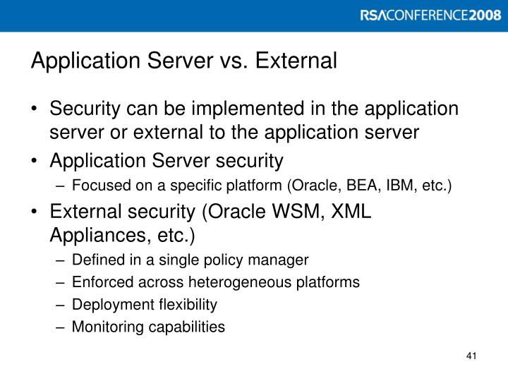 Application Server vs. External