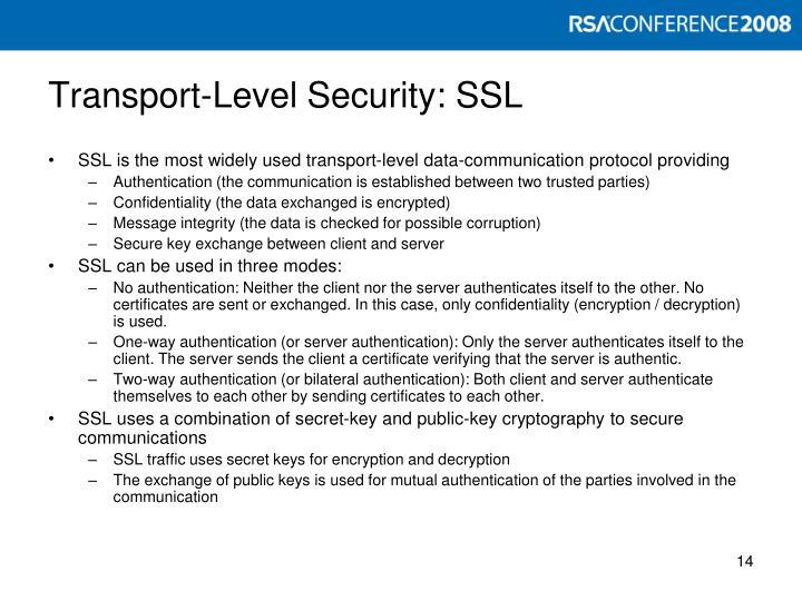 Transport-Level Security: SSL