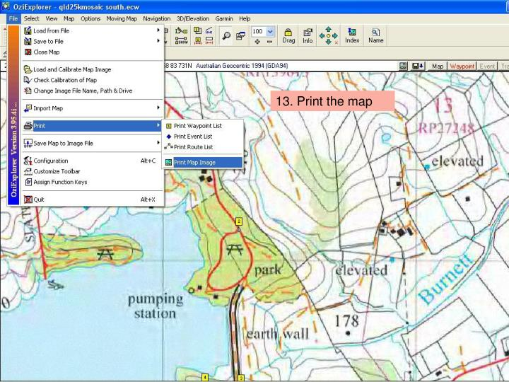 13. Print the map
