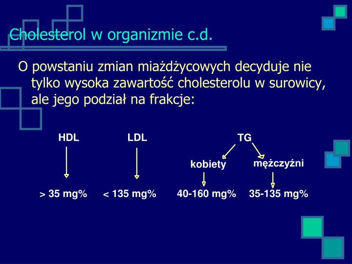 Cholesterol w organizmie c.d.
