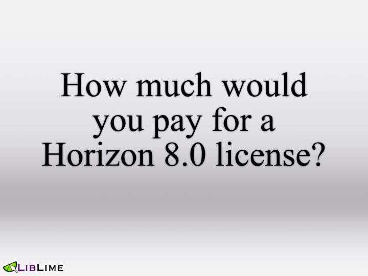 How much would you pay for a Horizon 8.0 license?