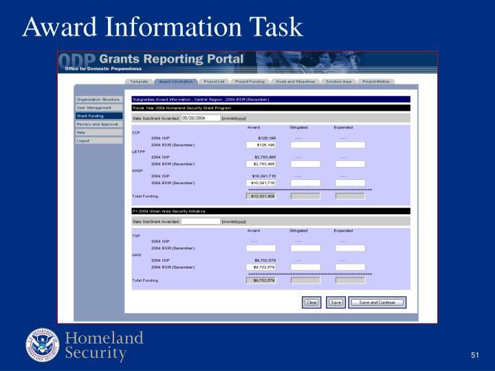 Award Information Task
