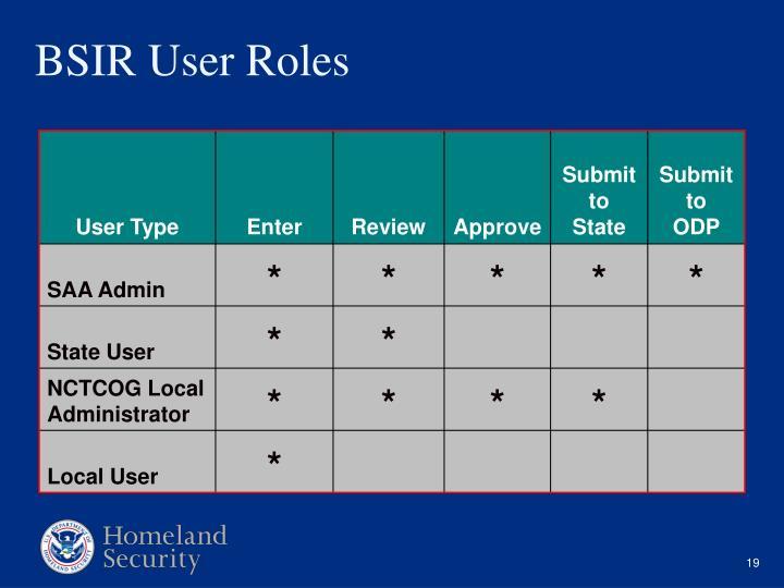 BSIR User Roles