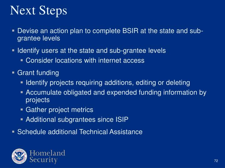 Devise an action plan to complete BSIR at the state and sub-grantee levels