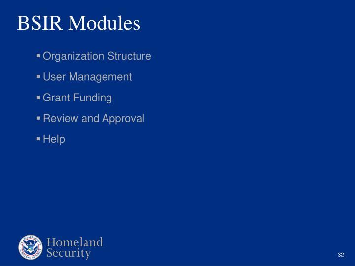 BSIR Modules