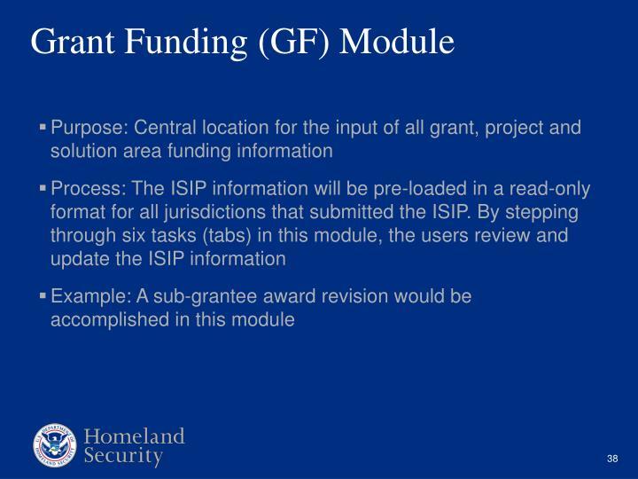 Grant Funding (GF) Module