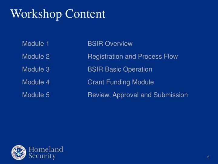 Module 1BSIR Overview