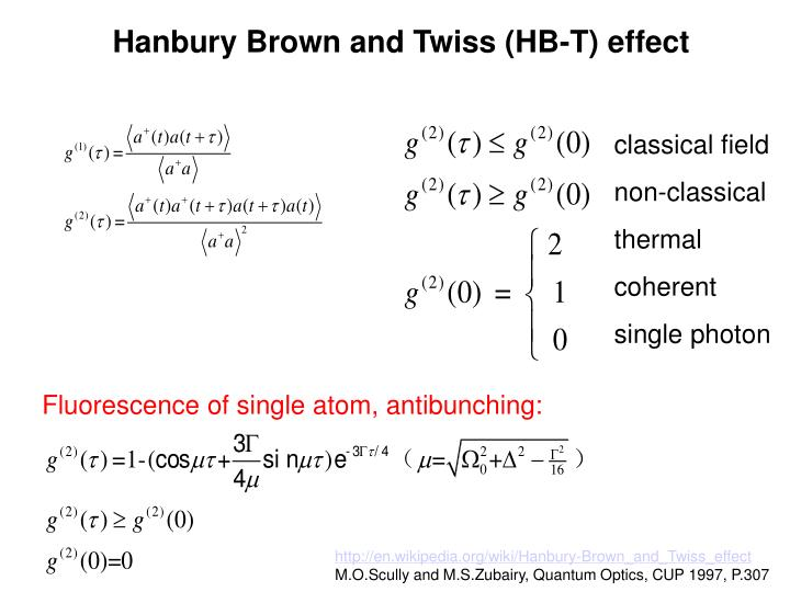 Hanbury Brown and Twiss (HB-T) effect