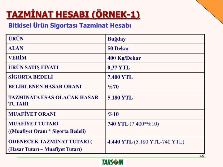 TAZMİNAT HESABI (ÖRNEK-1)