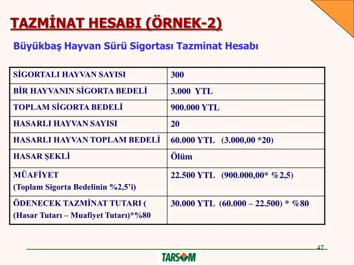 TAZMİNAT HESABI (ÖRNEK-2)