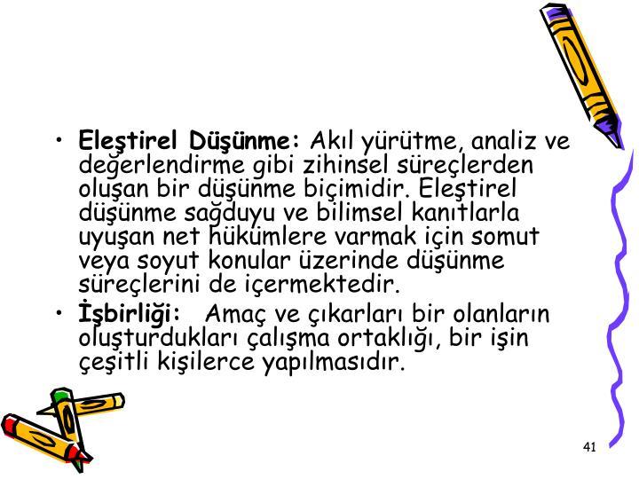 Eletirel Dnme:
