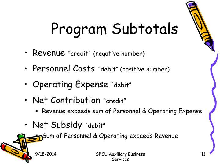 Program Subtotals