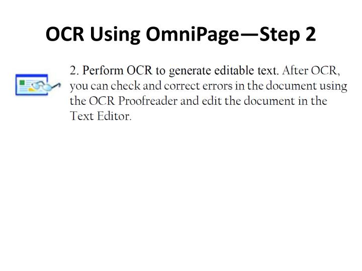 OCR Using OmniPage—Step 2