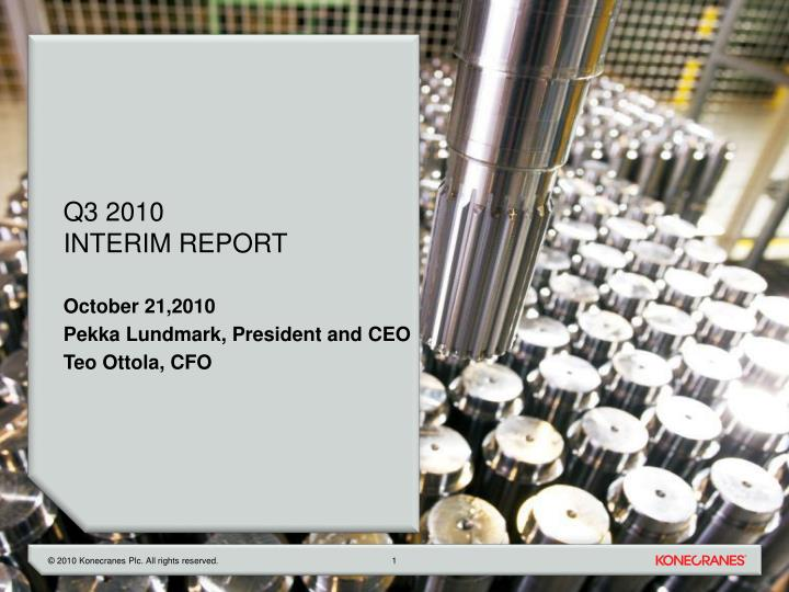Q3 2010 interim report