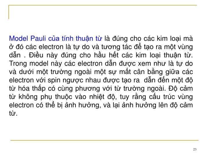 Model Pauli ca tnh thun t