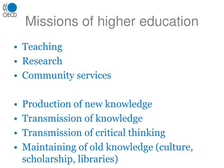 Missions of higher education