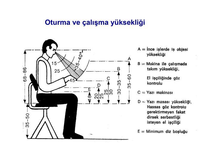Oturma ve çalışma yüksekliği