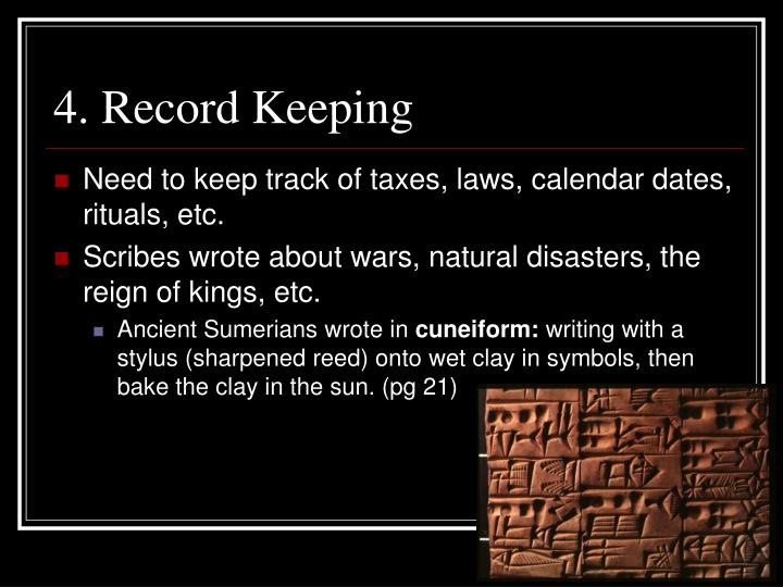 4. Record Keeping