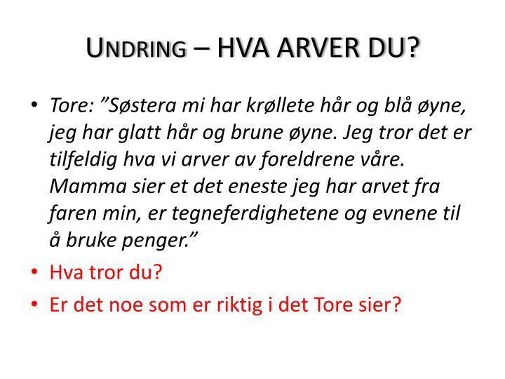 Undring – HVA ARVER DU?