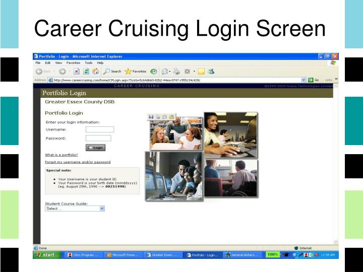 Career Cruising Login Screen