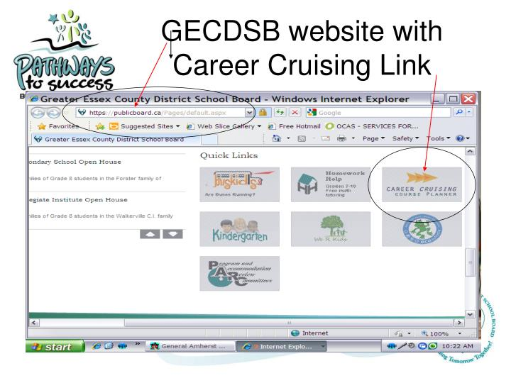 GECDSB website with Career Cruising Link
