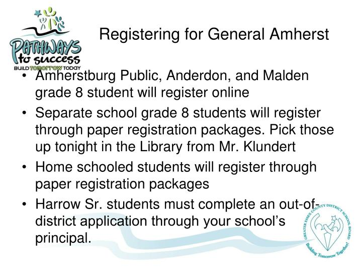 Registering for General Amherst