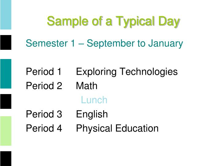 Sample of a Typical Day
