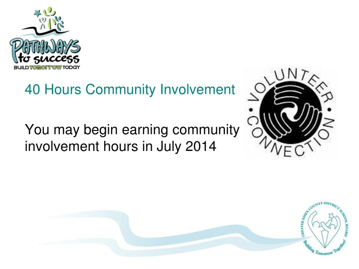 40 Hours Community Involvement