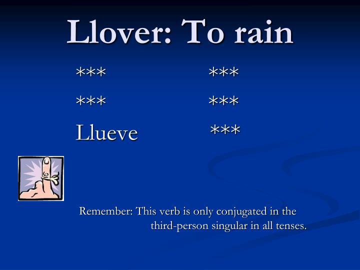 Llover: To rain