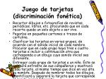 juego de tarjetas discriminaci n fon tica