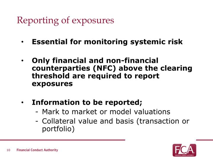 Reporting of exposures