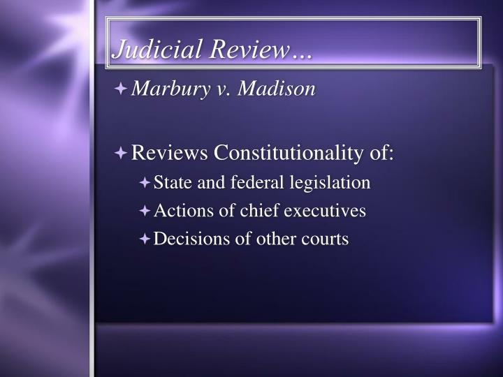 Judicial Review…