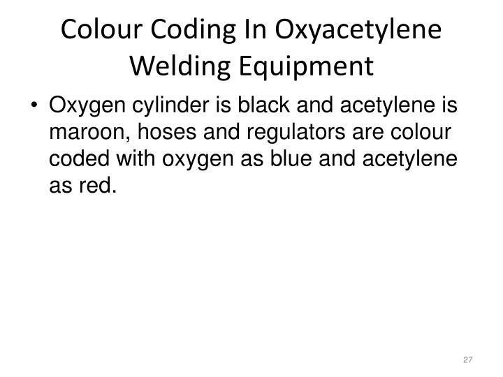 Colour Coding In Oxyacetylene Welding Equipment