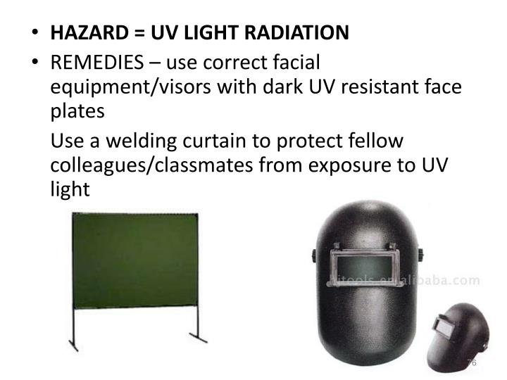HAZARD = UV LIGHT RADIATION