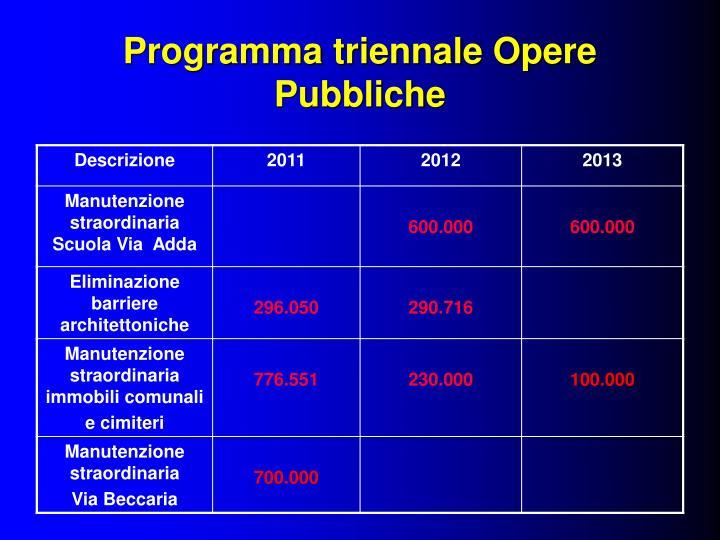 Programma triennale Opere Pubbliche