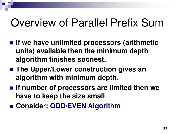 Overview of Parallel Prefix Sum