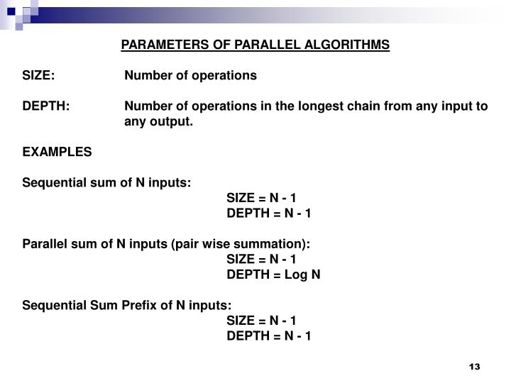 PARAMETERS OF PARALLEL ALGORITHMS