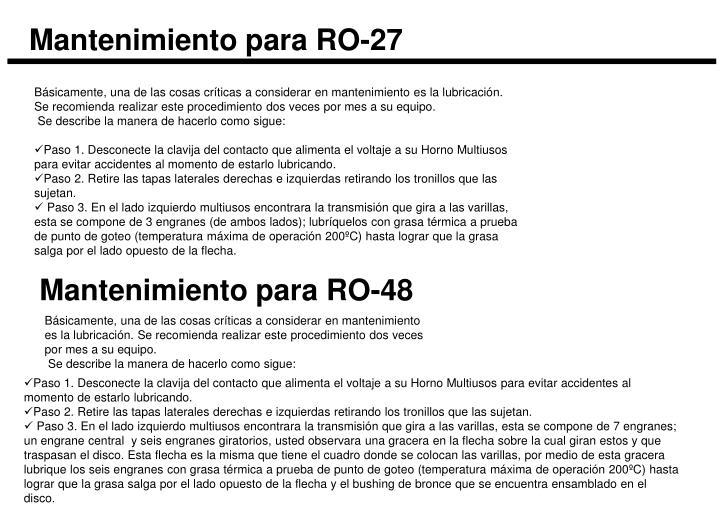 Mantenimiento para RO-27