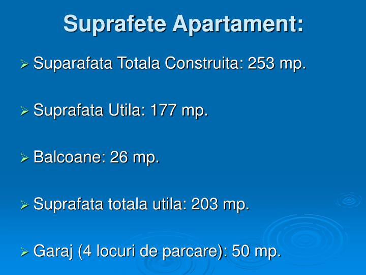 Suprafete Apartament:
