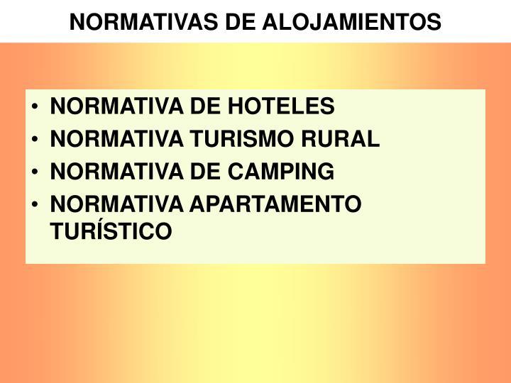 NORMATIVAS DE ALOJAMIENTOS