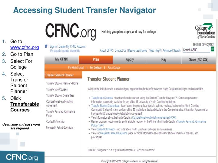 Accessing Student Transfer Navigator