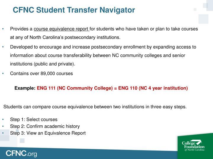 CFNC Student Transfer Navigator