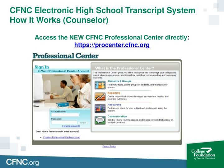 CFNC Electronic High School Transcript System