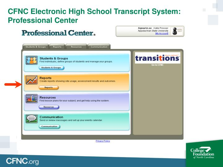 CFNC Electronic High School Transcript System: