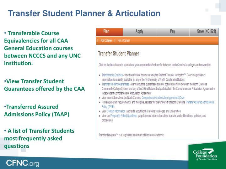 Transfer Student Planner & Articulation