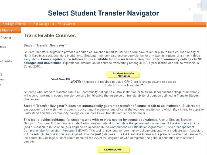 Select Student Transfer Navigator