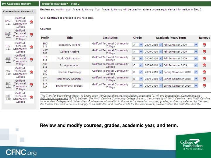 Review and modify courses, grades, academic year, and term.