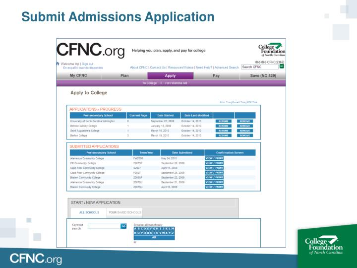 Submit Admissions Application
