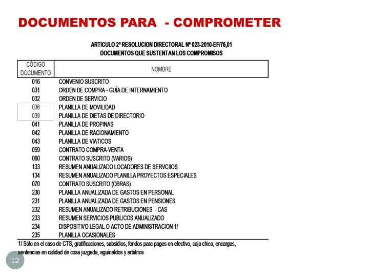DOCUMENTOS PARA  - COMPROMETER